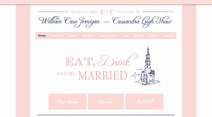 beautiful pinks and blue wedding website