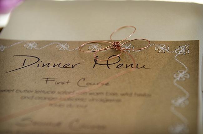 Kraft paper dinner menu with copper wire wrap