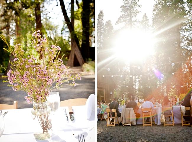 wildflower centerpiece and evergreen lodge wedding ceception