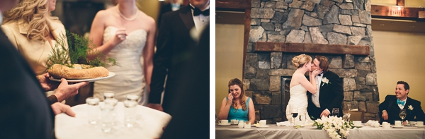 banff wedding reception in stone and timber lodge