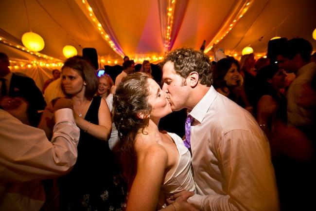 dance floor kiss-  New Hampshire Mountain Wedding