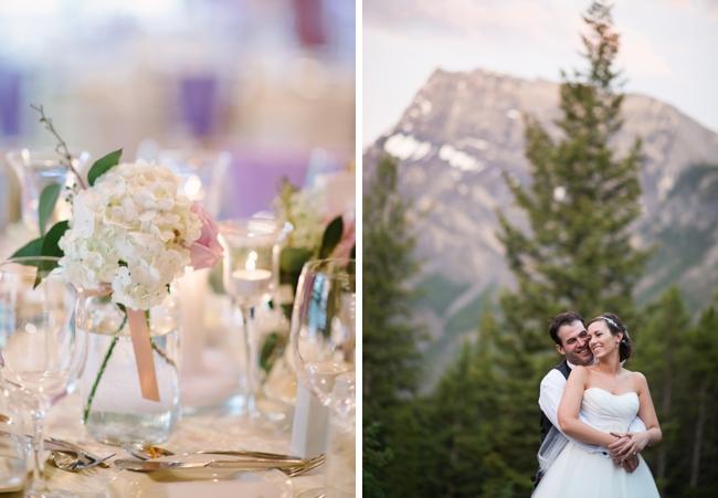 white hydrangea centerpiece and mountain wedding portrait