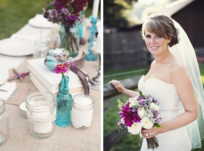 bride and table rustic chic wedding via http://mountainsidebride.com