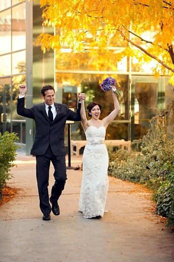 bride and groom married in fall