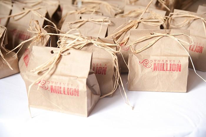 rustic stamped favor bags   Colorado Wedding