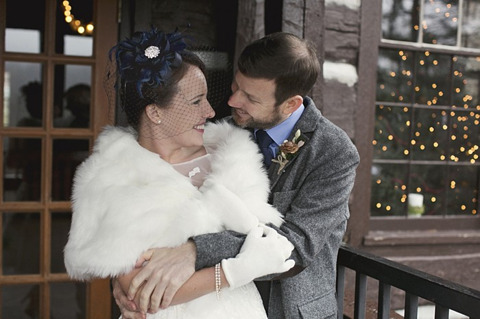 winter bride and groom