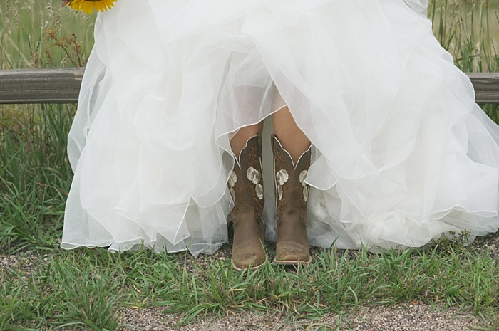 bride in boots   Colorado Wedding