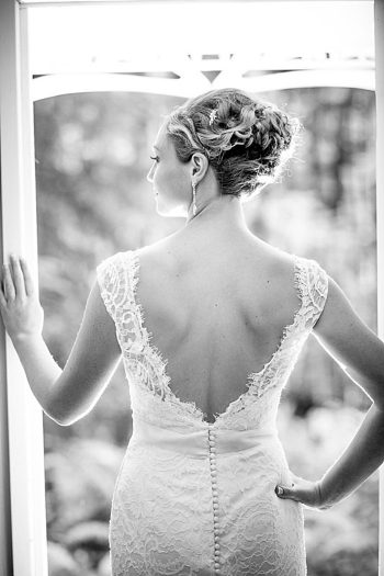 elegant bride in lace gown