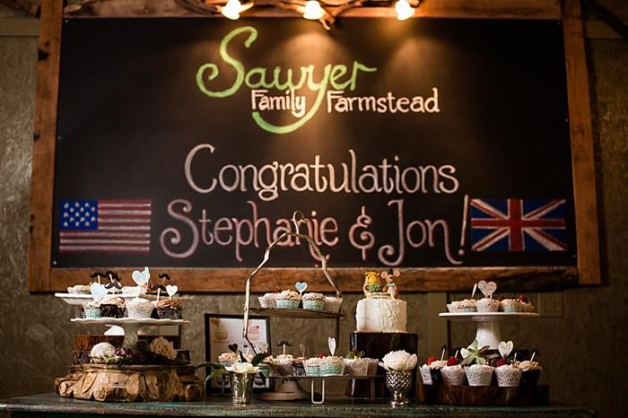 congratulations chalkboard sign western North Carolina handmade wedding by Shutter Love Photography