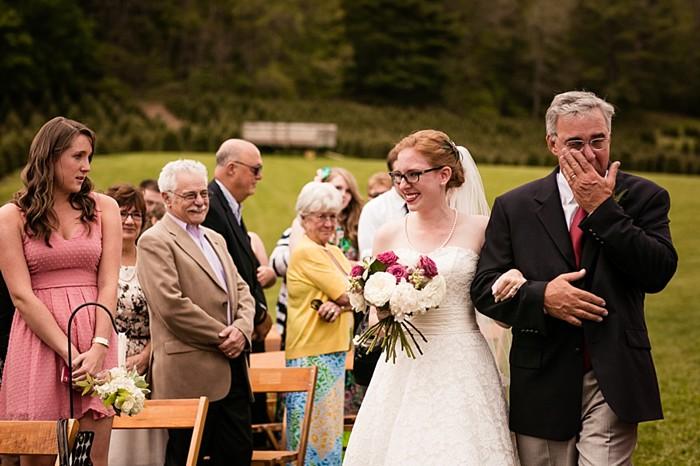 father walking bride down the aisle western North Carolina handmade wedding by Shutter Love Photography