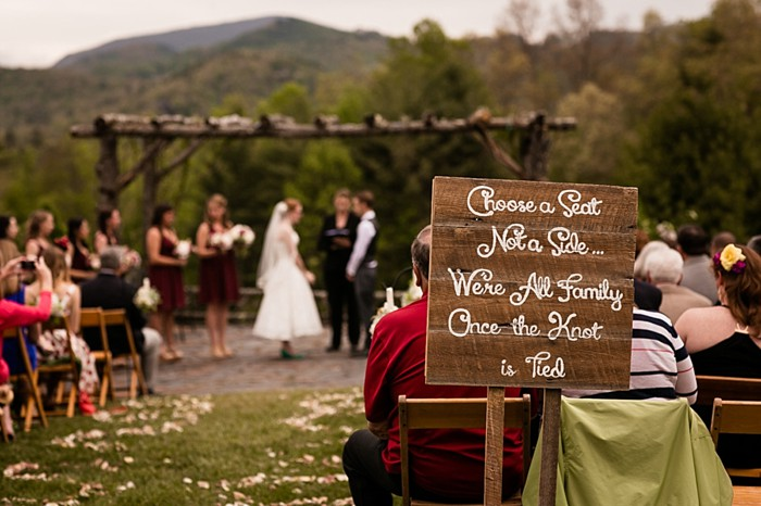 choose a seat not a side sign western North Carolina handmade wedding by Shutter Love Photography