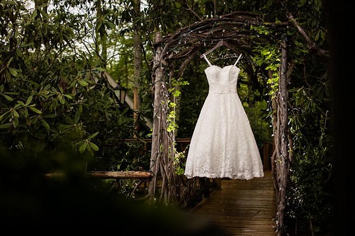 Justin Alexander short wedding dress western North Carolina handmade wedding by Shutter Love Photography