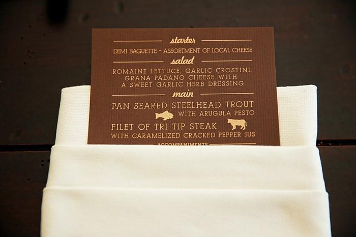Brown and Gold menu card | Deer Valley Utah Wedding  | Pepper Nix Photography