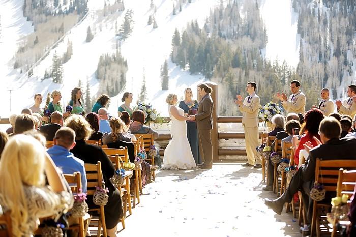Peacock Themed Winter Wedding in Deer Valley Utah | Stein Eriksen Lodge