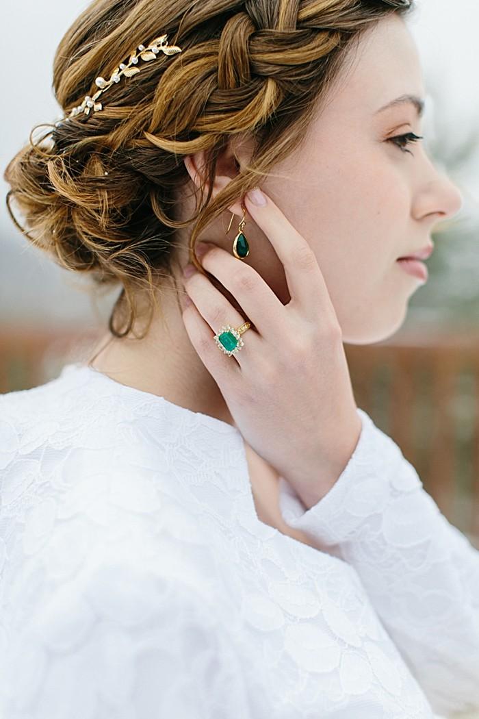 Emerald Engagement Ring | Frozen Winter Utah Mountain Wedding | Meg Ruth Photo