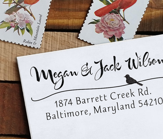 Wedding stamp | caligraphy with bird