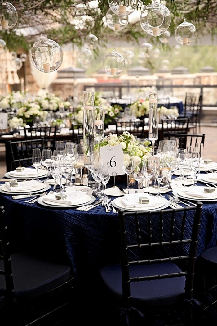 navy and ivory tablescape  | Park City Utah Wedding | Pepper Nix Photography
