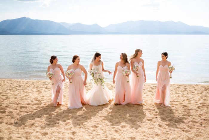 Blush Pink Bridesmaids Dresses | Lake Tahoe Wedding | Eric Asistin Photographer