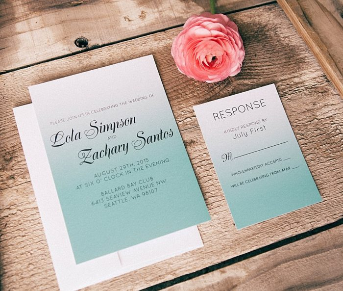 Basic Invite Ombre Wedding Invitation Inspiration