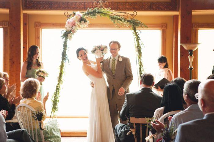 15 Ceremony Laugh Sandpoint Idaho Mountain Wedding Amy Galbraith Photography   Via MountainsideBride.com