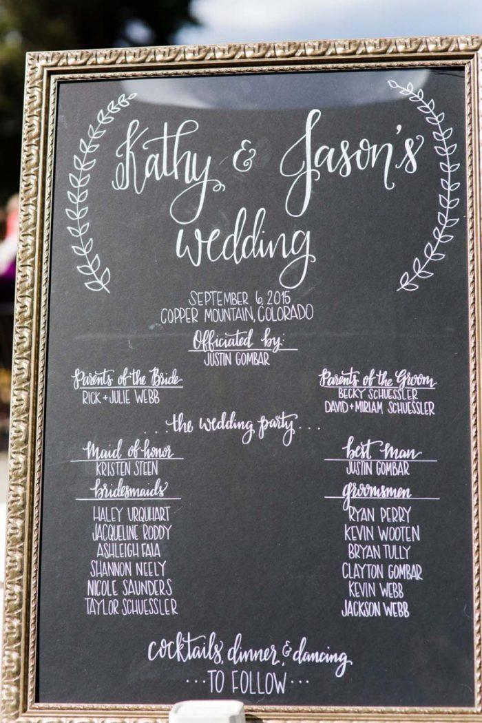 Chalkboard wedding sign | Copper Mountain Wedding Colorado Danielle DeFiore Photography | Via Mountainsidebride.com