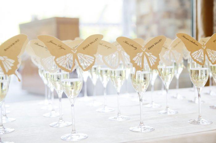 Butterfly Place Cards | Elegant Park City Wedding St Regis Logan Walker Photography | Via MountainsideBride.com