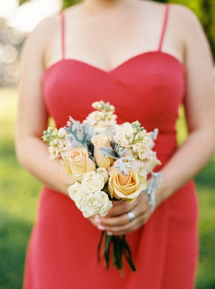 Red Bridesmaid Dress | Mountain Wedding In Barboursville Virginia By JoPhoto | Via MountainsideBride.com