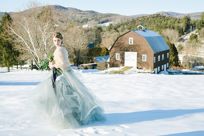 Ethereal Blue and Gray Winter Wedding Inspiration in Vermont
