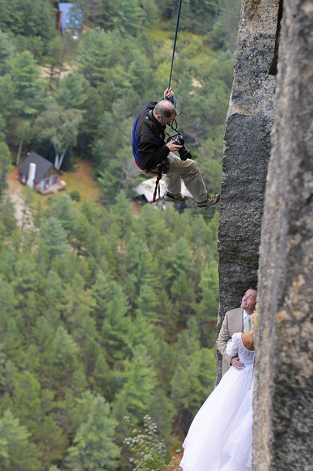 Climber Photographer On A Linephotography Crew Different Couple Jay Philbreck Cliff Side Wedding Photography Via MountainsideBride.com