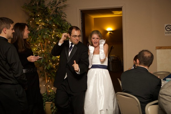 Ashley Stevens of Mountains Unmoved dancing with husband at wedding on December 12