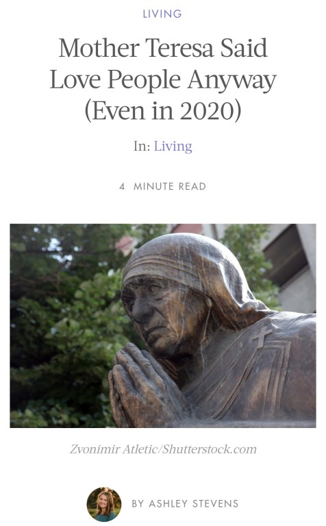 Mother Teresa Love People Anyway - Ashley Stevens from Mountains Unmoved on Her View From Home On Election 2020