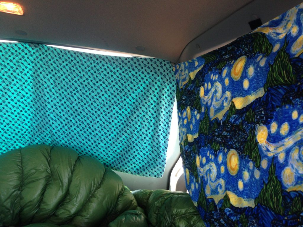 Homemade curtains for living out of a car.