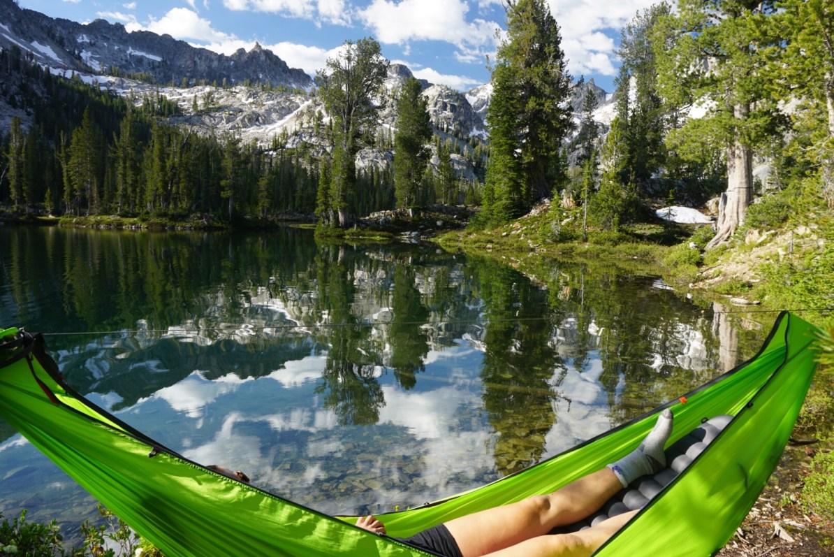 Camping in a Kammock hammock on Alice Lake