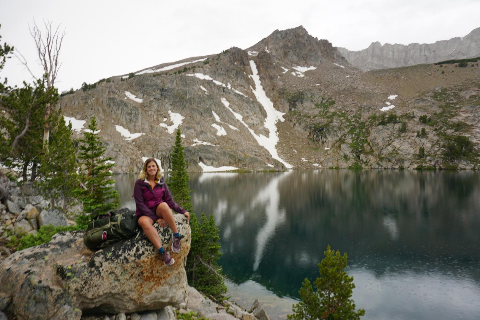 Taking a break while hiking the Big Boulder Lakes
