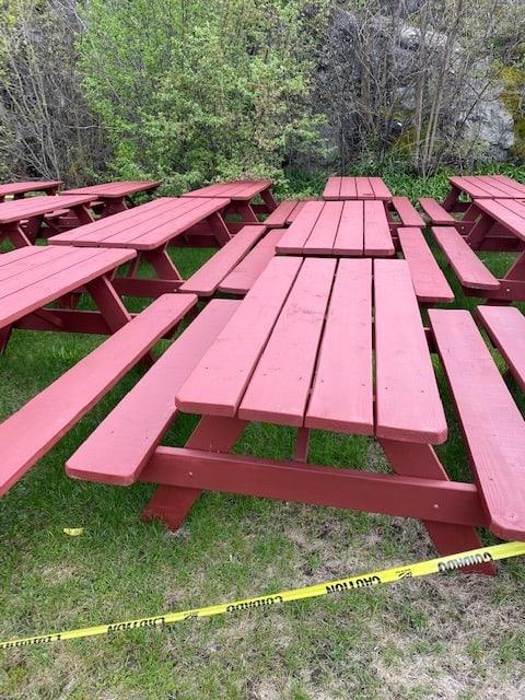 village snack bar s picnic tables