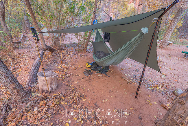 My hammock camping setup from December 2014. Foam pad for bottom insulation inside a homemade hammock. Suspended with ENO Atlas Straps. The Warbonnet MamaJamba Tarp provides shelter.
