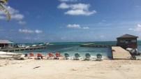 Lounge chairs on the Sandbar Beachfront Hostel beach