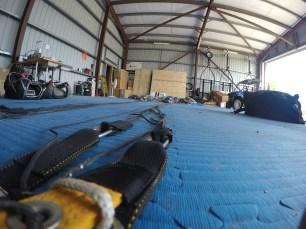 A shot of parachute lines on the hangar floor