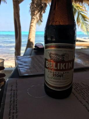 A Belikin Chocolate Stout at Rojo Lounge- Ambergris Caye Belize