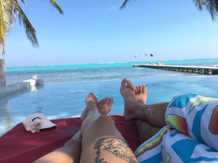 Rocky and me at Rojo Lounge- Ambergris Caye Belize