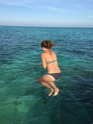 Me jumping into the Caribbean Sea, Ambergris Caye, Belize