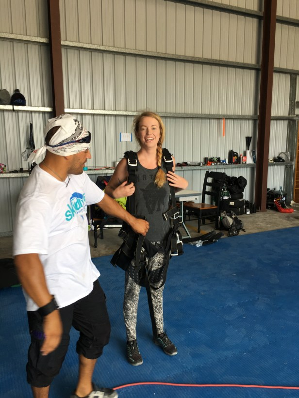 Rich gearing Mandy up for her first ever skydive!