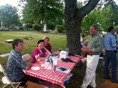 Association members Kay Tatum and Marjem Gill sell books at the 2012 Spring Picnic
