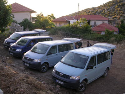 45 am packing up the four vans with the equipment for the day.  The trip from Ano Karyes to the lower sanctuary takes about 10 minutes by car and to the upper site takes about 20 minutes.
