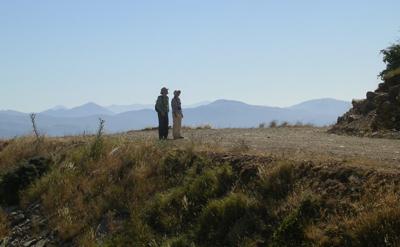 Mark Davison and Danae Whipp contemplating thelandscape.