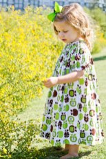 Mackenzie (2) wears a fall print dress of green and brown apples while checking out the landscape. The outfit provided by The Ragamuffin Shop is paired with a green hair bow.