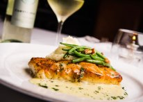 Market fish with lime beurre blanc, mashed potatoes, thin green beans and pecans, available only at Red Drum in Mount Pleasant.