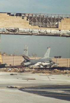 F-16 at Homestead AFB after Andrew struck
