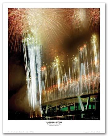 Limited Edition Arthur Ravenel Jr Bridge Grand Opening fireworks poster