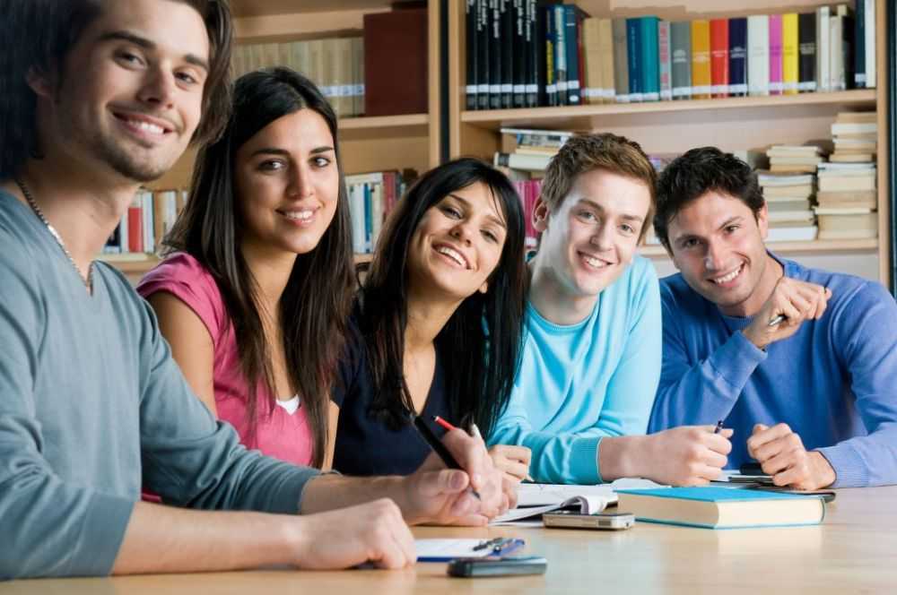 """College students """"getting their study on"""" pose for a photo"""